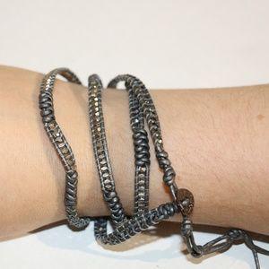 Nakamol beads / metal leather warped bracelet J35
